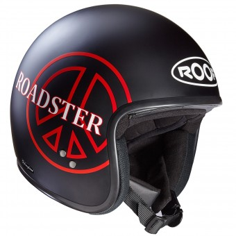 Casque Open Face Roof Roadster Peace Matt Black Red
