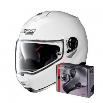 Casque Flip Up Nolan N100 5 Classic N-Com Metal White 5