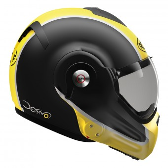Casque Flip Up Roof Desmo Flash Mat Black Yellow 3e Generation