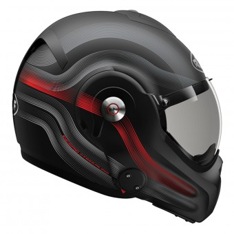 Casque Flip Up Roof Desmo Streamline Matt Black Titan Red 3e Generation