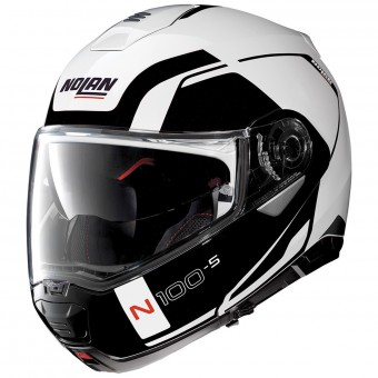 Casque Flip Up Nolan N100 5 Consistency N-Com Metal White 19