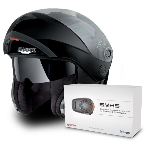 Helmet Shark Openline Prime Blk Pinlock Sharktooth Bluetooth Kit