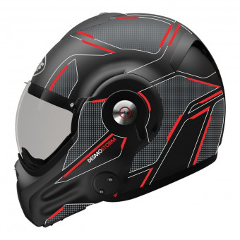 Casque Flip Up Roof Desmo Storm Black Titanium Red Matt 3rd Generation