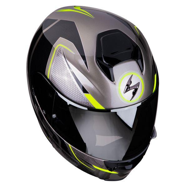 e1e05745 Helmet Scorpion EXO 3000 Air Creed Titanium Black Yellow Neon ready ...