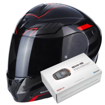 Casque Flip Up Scorpion Exo 920 Shuttle Black Silver Red