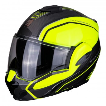Casque Flip Up Scorpion Exo Tech Time-Off Yellow Neon Silver