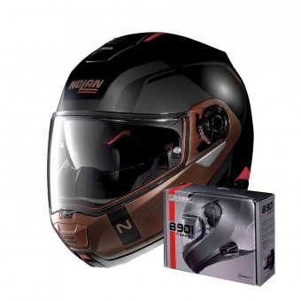 Casque Flip Up Nolan N100 5 Consistency N-Com Flat Black Copper 28