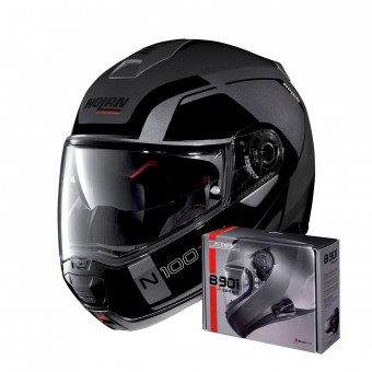 Casque Flip Up Nolan N100 5 Consistency N-Com Flat Lava Grey 20