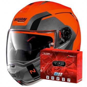 Casque Flip Up Nolan N100 5 Consistency N-Com Led Flat Orange 27