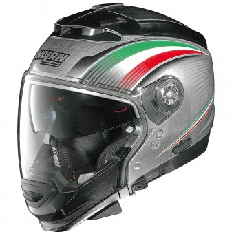 Casque Convertible Nolan N44 Evo Italy N-Com Scratched Chrome 15