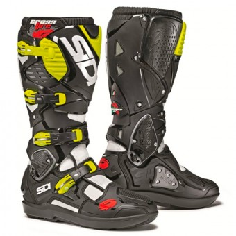 Motocross Boots SIDI Crossfire 3 SRS White Black Yellow Fluo