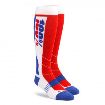 Motocross Shoes 100% Socks Hi-Side Performance Blue Red