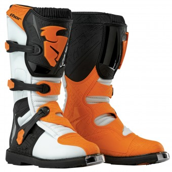 Motocross Boots Thor Blitz Black White Orange Kid