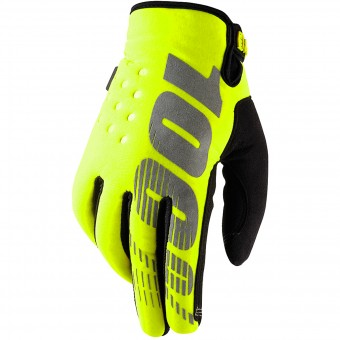 Motocross Gloves 100% Brisker Yellow