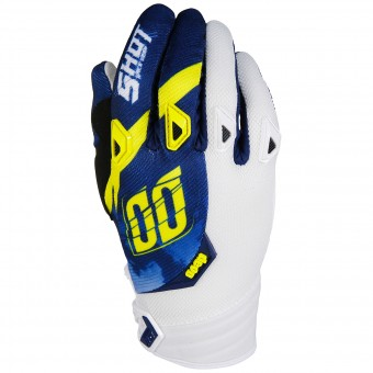 Motocross Gloves SHOT Devo Squad Blue Yellow White