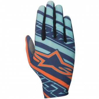 Motocross Gloves Alpinestars Dune Turquoise Orange