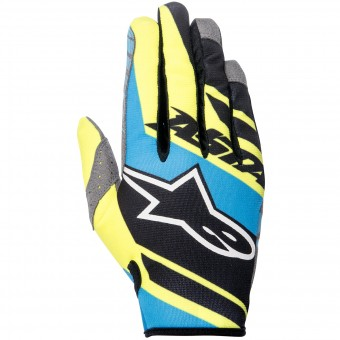 Motocross Gloves Alpinestars Racer Supermatic Black Blue Yellow Kid