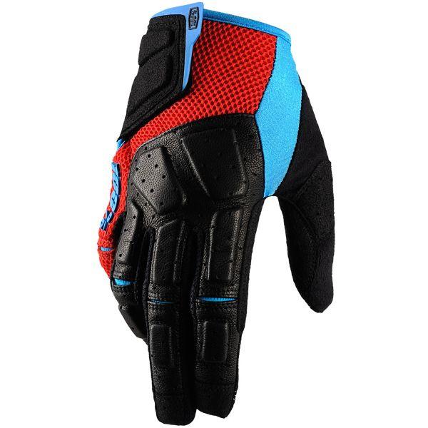 Motocross Gloves 100% Simi Red Cyan