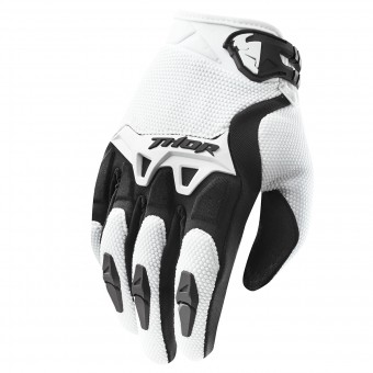 Motocross Gloves Thor Spectrum Blanc Kid