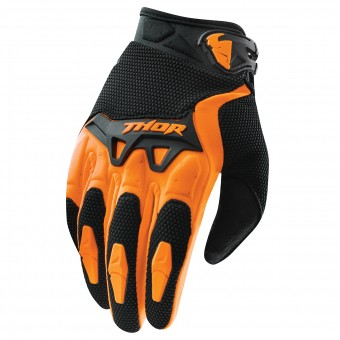 Motocross Gloves Thor Spectrum Orange Black Kid