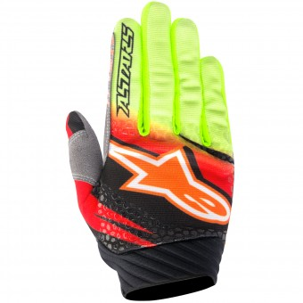 Motocross Gloves Alpinestars Techstar Venom Red Yellow Fluo