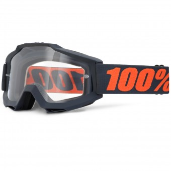 Motocross Goggles 100% Accuri Gun Metal Clear Lens