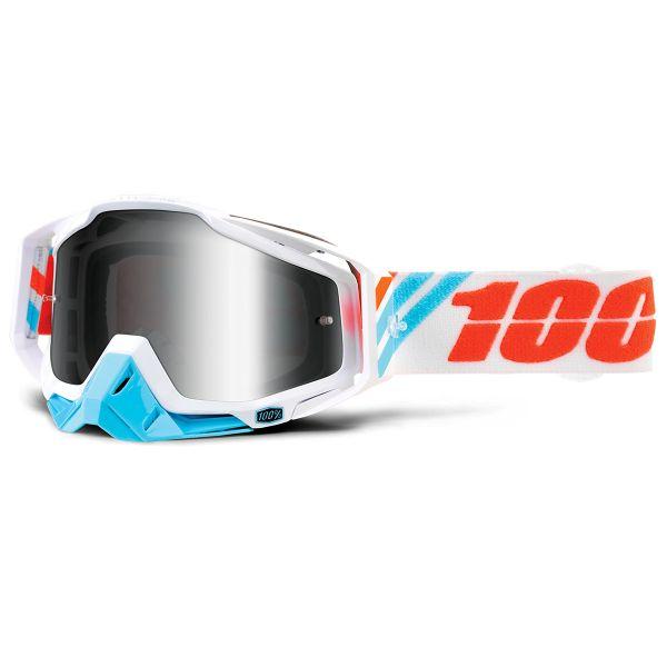 Motocross Goggles 100% Racecraft Calculus Ice Mirror Silver Lens
