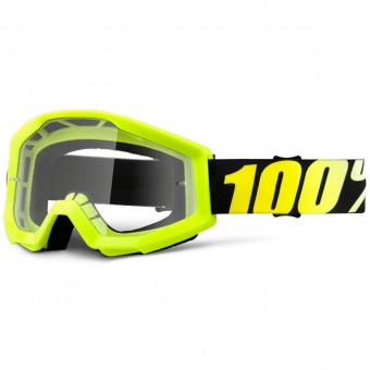 Motocross Goggles 100% Strata Neon Yellow Clear Lens Kid