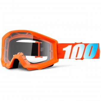 Motocross Goggles 100% Strata Orange Clear Lens