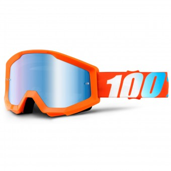 Motocross Goggles 100% Strata Orange Mirror Blue Lens