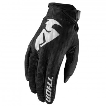 Motocross Gloves Thor Sector Glove Black Kid
