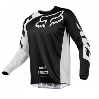 Motocross Jerseys FOX 180 Race Black White Kid 001