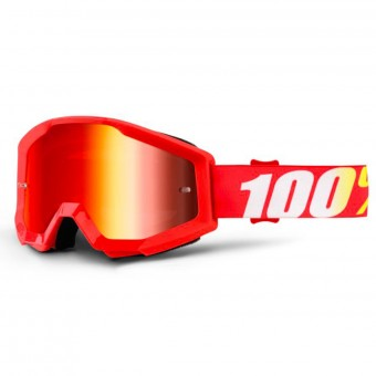 Motocross Goggles 100% Strata Furnace Mirror Red Lens