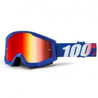 Motocross Goggles 100% Strata Nation Mirror Blue Lens