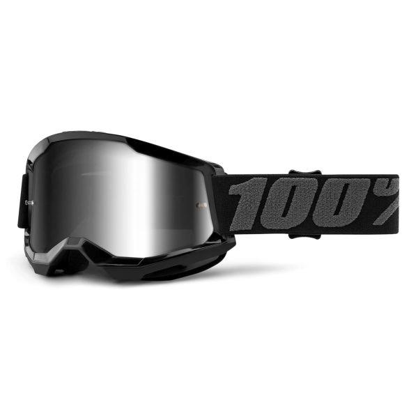 Motocross Goggles 100% Strata 2 Black - Iridium Silver