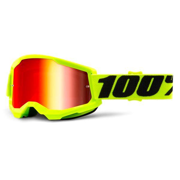 Motocross Goggles 100% Strata 2 Yellow - Iridium Red