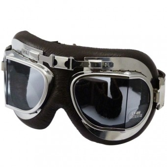 Motorcycle Goggles Torx Air Force Brown Chrome - Transparent