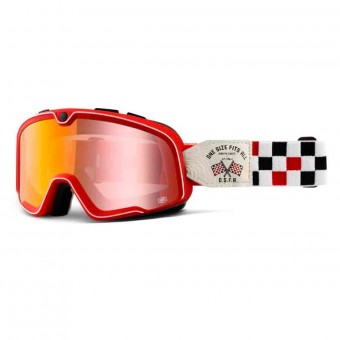 Motorcycle Goggles 100% Barstow Osfa 2 Mirror Red Lens