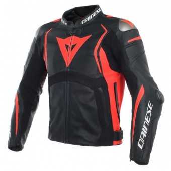 Motorcycle Jackets Dainese Mugello Leather Black Fluo Red