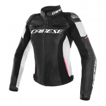 Motorcycle Jackets Dainese Racing 3 Lady Black White Fuchsia