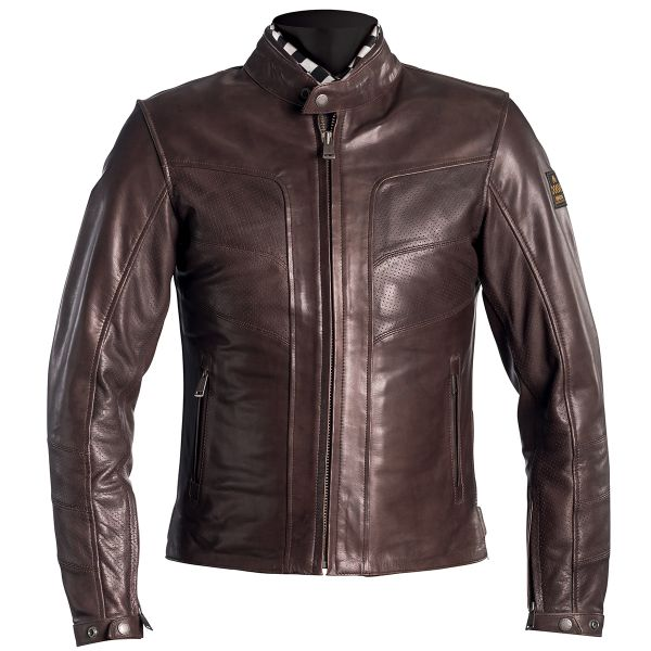 Motorcycle Jackets Helstons River Leather Perforated Brown