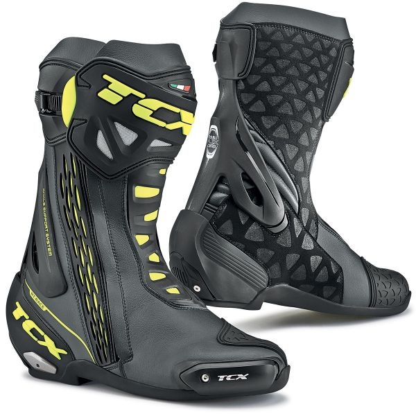 Motorcycle Boots TCX RT-Race Black Yellow Fluo