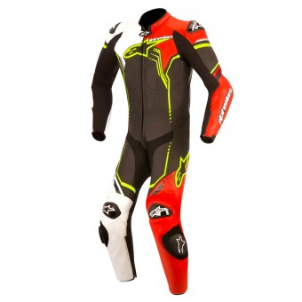Leather Motorcycle Suits Alpinestars Young GP Plus Black White Red Fluo Yellow