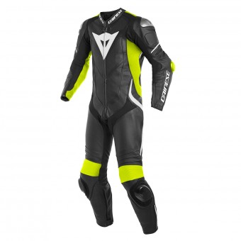 Leather Motorcycle Suits Dainese Laguna Seca 4 1PC Perforated Black Fluo Yellow