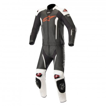 Leather Motorcycle Suits Alpinestars Missile 2PC Compatible Tech-Air Black White Red