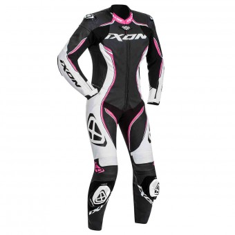 Leather Motorcycle Suits Ixon Vortex Lady Black White Fuchsia