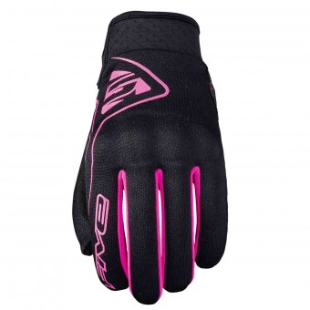 Motorcycle Gloves Five Globe Woman Black Rose Fluo