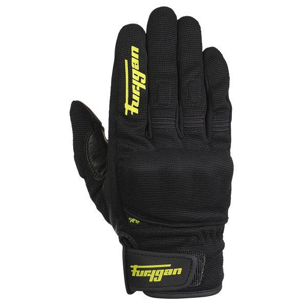 Motorcycle Gloves Furygan Jet D3O Black Yellow Fluo