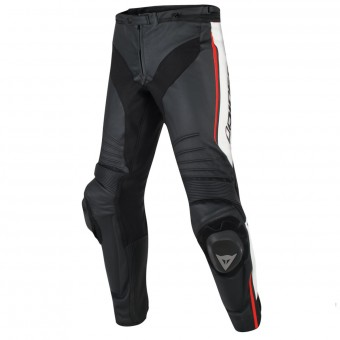 Motorcycle Trousers Dainese Misano Black White Red Fluo