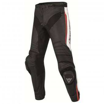 Motorcycle Trousers Dainese Misano Perforated Black White Red Fluo